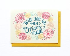 Colorful will you be my bridesmaid card