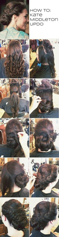 how to: Kate Middleton updo I figured out something that makes me very sad... most of these, I'll never be able to do to myself :( But they are still so cool to look at ;)