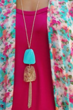 Two Stones Tassel Necklace | The ZigZag Stripe