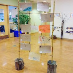 """(@reggio_rece) on Instagram: """"#project #art #display looking for more log #donations"""" Childcare Environments, Childcare Rooms, Childrens Art Display, Boys Room Colors, Disposable Camera Wedding, Classroom Inspiration, Classroom Ideas, Kids Room Organization, School Photography"""