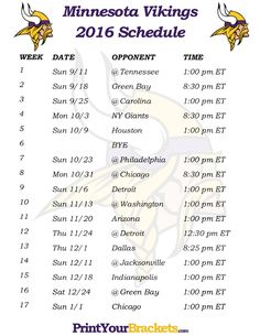 Printable Minnesota Vikings Schedule - 2016 Football Season