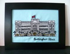 Buckingham Palace London England Freehand machine by lemonyjen, £30.00