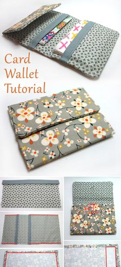 Folding Card Wallet Tutorial - Folding Card Wallet Tutorial ~ Source by Small Sewing Projects, Sewing Projects For Beginners, Sewing Hacks, Sewing Tutorials, Sewing Crafts, Sewing Tips, Diy Crafts, Wallet Sewing Pattern, Sewing Patterns Free