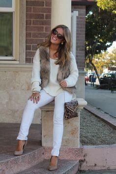 Winter white outfit. nude pumps, faux fur vest, cream sweater, winter white jeans, leopard bag
