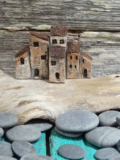 Miniature Medieval Italian village group of old houses by theCherryHeart.etsy.com