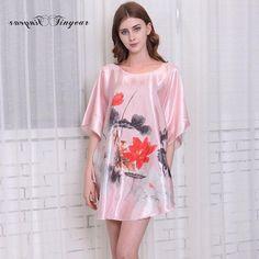 1647 Hot Sale Purple Summer Chinese Women s Nightgown Silk Rayon Bath Robe  Dress Kimono Gown Flower Sleepwear Plus Size db59237d7