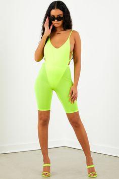 ba1c1ce84f5e Neon Yellow High Cut Open Back Bodysuit. Sorella Boutique