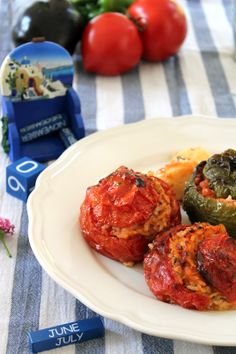 Greek and delicious! Gemista/stuffed vegetables! You should try it.. It's a small taste of Greek summer (cuisine)!