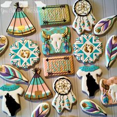 Baby Wolf Tribal Welcoming Baby Shower Cookies