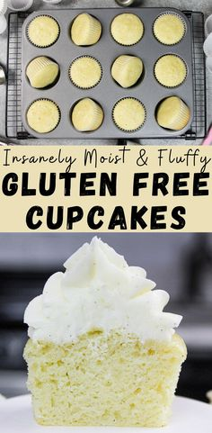 This recipe for gluten free vanilla cupcakes is insanely simple & equally delicious! It comes together in one bowl and makes super moist and fluffy cupcakes free recipes for dessert Gluten Free Vanilla Cupcakes Cookies Gluten Free, Easy Gluten Free Desserts, Gluten Free Carrot Cake, Gluten Free Banana Bread, Gluten Free Chocolate, Dairy Free Recipes, Gluten Free Vanilla Cupcake Recipe, Free From Recipes, Eating Gluten Free