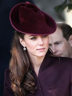Kate Middleton's stunning mulled wine colored hat by Jane Corbett