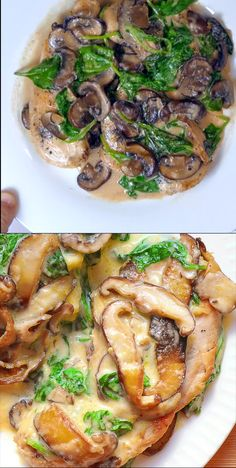Chicken in Creamy Parmesan Mushroom Sauce - Spinat rezepte Easy Chicken Recipes, Easy Dinner Recipes, Easy Meals, Easy Recipes, Healthy Chicken, Recipes With Chicken Thighs, Dinner Ideas, Chicken Recepies, Tilapia Fish Recipes