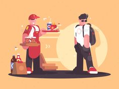Buy Seller of Fastfood in Uniform by on GraphicRiver. Seller of fastfood in uniform. Fast service in cafe. Flat Design Illustration, Illustration Art, Vector Graphics, Vector Art, Character Concept, Character Design, Vector Animation, Flyer Design Templates, Art Archive