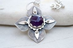 Ασημένιο κολιέ με Αμέθυστο. Amethyst Necklace, Amethyst Pendant, Sterling Silver Jewelry, Gemstone Jewelry, Handcrafted Jewelry, Unique Jewelry, Heart Ring, Swag, Brooch