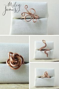Copper jewelry makes the perfect 7th wedding anniversary gift. Rings like these wire wrapped ones are a splendid choice as a gift for him or her. Come take a look at Miley James for One of a Kind and Limited Edition Jewelry. Click to shop now or pin for later. #CopperRings #7thWeddingAnniversary #GiftforHim orHer