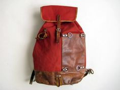 awesome backpack, leather, old school Swiss hiker style