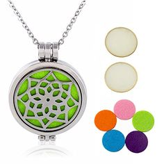 "Essential Oils Diffuser Necklace 316L Stainless Steel Pendant - Product Features: - Material: Premium hypo-allergenic 316L surgical grade stainless steel - Pendant diameter: 1.2""/3cm and weigh 0.6oz/18g, chain length: 24""/60cm and weighs 0.5oz/15g -Color: Unfading Nature steel color - 5pcs washable refill pads - One year NO Questions asked warranty GUARANTEE...."