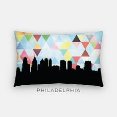 Philadelphia skyline pillow featuring the Philadelphia skyline and a geometric background  Back of pillow is solid black  ________________________________________________________ GIMME ALL THE DETAILS:  —Indoor/outdoor pillow measures 12x20 —The insert is hypoallergenic  —Outer case a soft spun poly blend and is machine washable  ________________________________________________________ ALSO AVAILABLE AS A....:  —canvas print (here: http://etsy.me/2brKRXa) —framed print (h...
