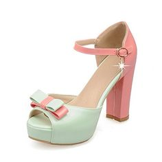 VogueZone009 Womens Assorted Color PU HighHeels Peep Toe Buckle HeeledSandals Green 39 >>> Want additional info? Click on the image. (This is an affiliate link) #WomensHeeledSandals