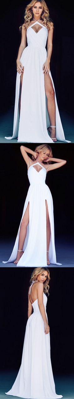 Custom Made White Chiffon Prom Dress,Halter Evening Dress,Side Slit Party Gown,Floor Length Pegeant Dress,High Quality