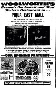 Woolworth flyer, The Piqua East Mall.