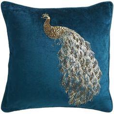 Midnight Velvet Beaded Peacock Pillow