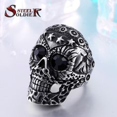 new store start ring Fashion Punk jewelry 13 Skull Ring Factory Price Stainless Titanium Steel Jewelry Gothic Wedding Rings, Gothic Engagement Ring, Skull Wedding Ring, Gothic Rings, Wedding Bands, Punk Jewelry, Jewelry Model, Skull Jewelry, Jewelry Rings
