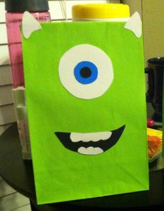 Mike candy bags, great for a monsters inc themed party