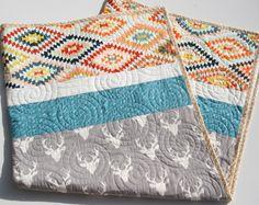 Tribal Deer Quilt, Baby Toddler Bed Blanket Modern Nursery