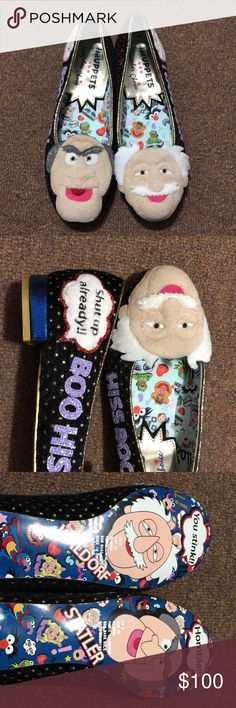 Boo Hiss! Irregular Choice Muppets Flats These charming flats feature everyone's favorite grumpy old men, Waldorf and Statler. They are US size 8, EUR size 39. I absolutely adore these shoes, but they are a tad bit too big for me. I wore them only once. There is some discoloration in the white of the hair and speech bubbles, and minor scratching on the soles. I got some major compliments during their only outing - definitely a conversation piece! Irregular Choice Shoes Flats & Loafers