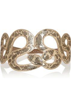 Roberto Cavalli|Snake-motif mirrored leather waist belt|NET-A-PORTER.COM