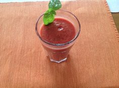 Home made tomato juice with basil