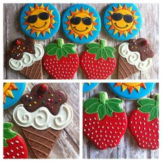 Sun Cookies, strawberry cookies, ice cream cookies, decorated cookies, sugar cookies