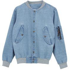 Oversized Denim Bomber Jacket ($105) ❤ liked on Polyvore featuring outerwear, jackets, bomber jacket, coats & jackets, denim jacket, blouson jacket, flight jacket and blue jackets