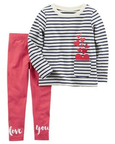 f12b7a3f7059 Toddler Girl 2-Piece French Terry Top & Polka Dot Legging Set from  Carters