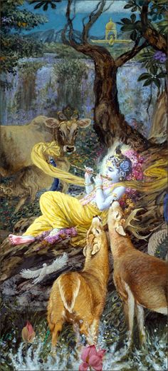 The killing of Pralambāsura and the devouring of the devastating forest fire by Krsṇa and Balarāma became household topics in Vrindāvana. The cowherd men described these wonderful activities to their wives and to everyone else, and all were struck with wonder. They concluded that Krsṇa and Balarāma were demigods who had kindly come to Vrindāvana to become their children.