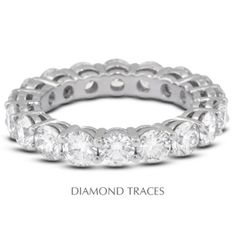 Diamond Traces UD-EWB446-5716 18K White Gold 4-Prong Setting 3.01 Carat Total Natural Diamonds Basket Eternity Ring, Women's, As Shown