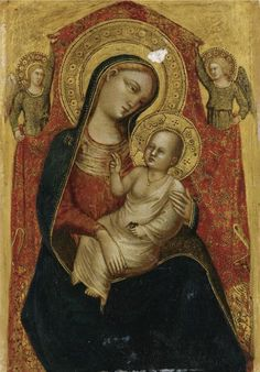 Lorenzo di Bicci ( Documented in Florence 1370 - 1427) | MADONNA AND CHILD WITH TWO ANGELS. | © 2015 Sotheby's: