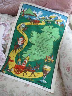 Vintage Printed Souvenir Kitchen Tea Towel - Linen Irish Coffee Funny Whiskey  Q178