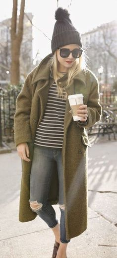 #fall #fashion / green coat + beanie