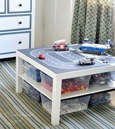 Lego Meets Lack – DIY IKEA Lack table hack for sensational Lego storage + a more comfortable raised platform for play! And it's the perfect size for plastic storage boxes underneath! Lego Storage, Ikea Storage, Bedroom Storage, Storage Boxes, Table Storage, Storage Hacks, Plastic Storage, Storage Ideas, Toy Rooms