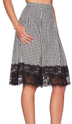 pretty lace trim midi skirt