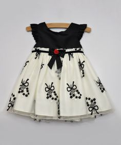 Black Floral Garland Angel-Sleeve Dress - Infant by Princess Faith #zulily #zulilyfinds