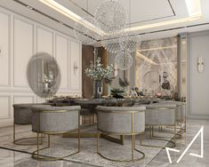 Dining room with Neo-classic style on Behance Classic Dining Room, Luxury Dining Room, Dining Room Design, Dining Area, Luxury Interior Design, Interior Architecture, Dream Home Design, House Design, Contemporary Decor