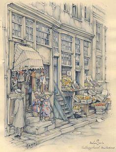 Jetzt in den Anton Pieck - Anton Pieck - Dessin Anton Pieck, Watercolor Architecture, Dutch Painters, Fairytale Art, Dutch Artists, Fantasy Illustration, Watercolor Sketch, Artist At Work, Painting & Drawing