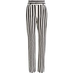 Dolce & Gabbana Striped Cotton Pants ($495) ❤ liked on Polyvore featuring pants, trousers, bottoms, stripes, peg-leg pants, white trousers, stripe pants, striped trousers and wide-leg pants
