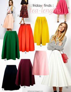 Tea length skirts are ladylike and sweet.