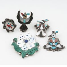 Zuni Inlaid Pins and Rings for Added Western Flair