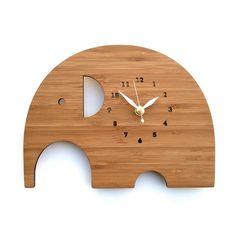 Elephant Clock - Modern Animal Wall Clock. $68.00, via Etsy. (I'm sure I can make it myself!)
