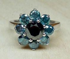 Vintage 2.91ct Black And Blue Diamond 14k White Gold Unique Engagement Ring Art Deco Style Flower Halo by DiamondAddiction on Etsy